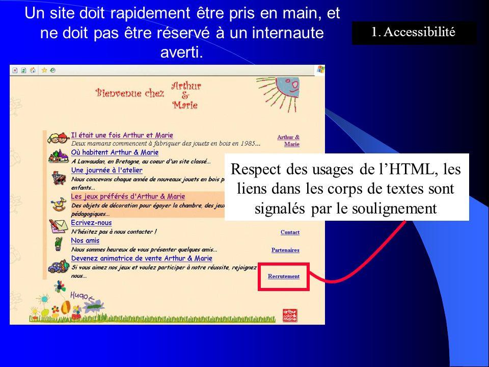 Un site doit rapidement être pris en main, et ne doit pas être réservé à un internaute averti. Respect des usages de lHTML, les liens dans les corps d