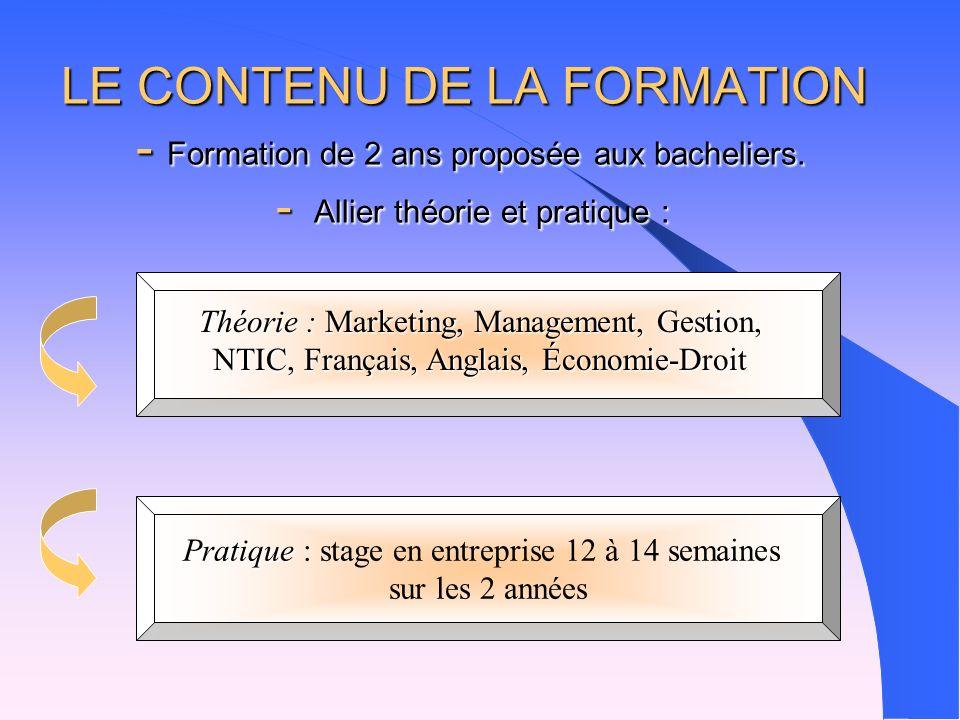 LE CONTENU DE LA FORMATION - Formation de 2 ans proposée aux bacheliers.