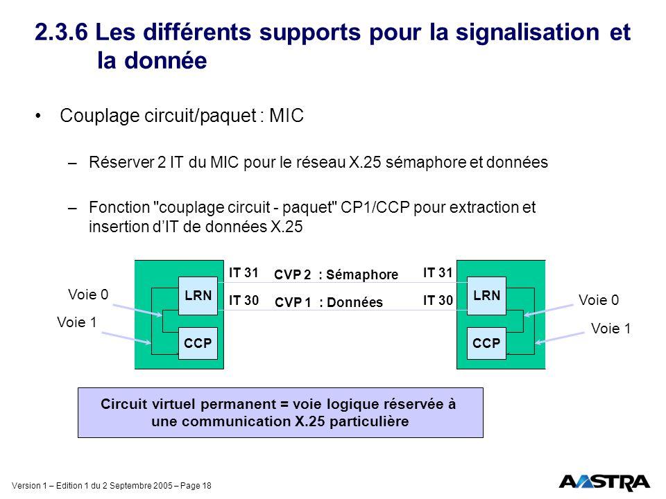 Version 1 – Edition 1 du 2 Septembre 2005 – Page 18 2.3.6 Les différents supports pour la signalisation et la donnée Couplage circuit/paquet : MIC –Ré