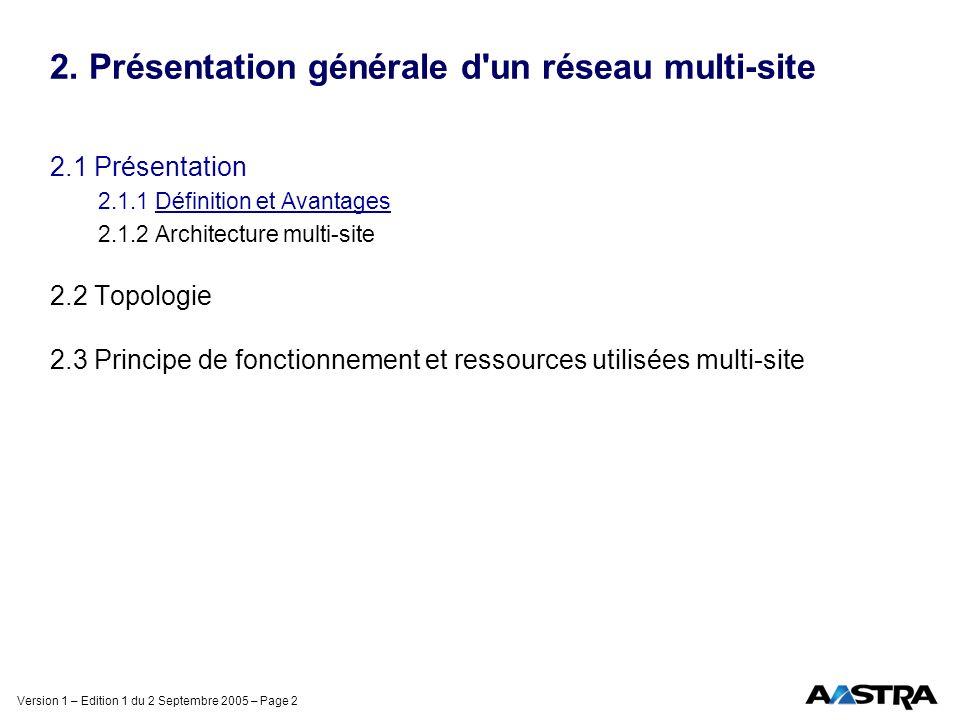 Version 1 – Edition 1 du 2 Septembre 2005 – Page 2 2. Présentation générale d'un réseau multi-site 2.1 Présentation 2.1.1 Définition et Avantages 2.1.