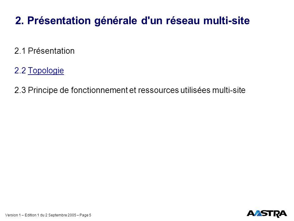 Version 1 – Edition 1 du 2 Septembre 2005 – Page 5 2. Présentation générale d'un réseau multi-site 2.1 Présentation 2.2 Topologie 2.3 Principe de fonc
