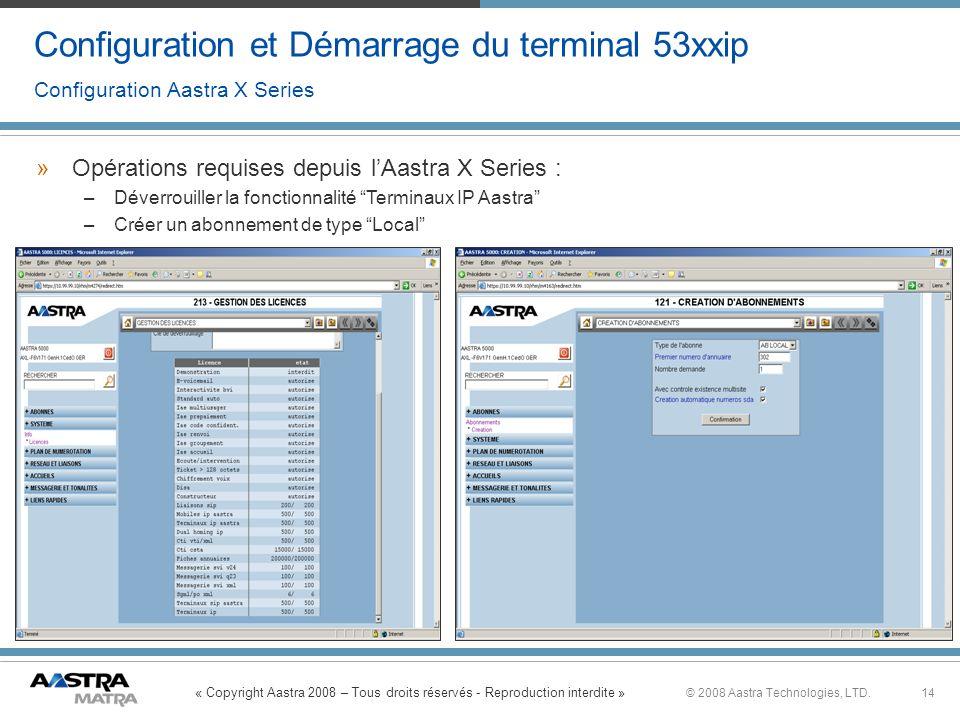 « Copyright Aastra 2008 – Tous droits réservés - Reproduction interdite » 14© 2008 Aastra Technologies, LTD. Configuration et Démarrage du terminal 53