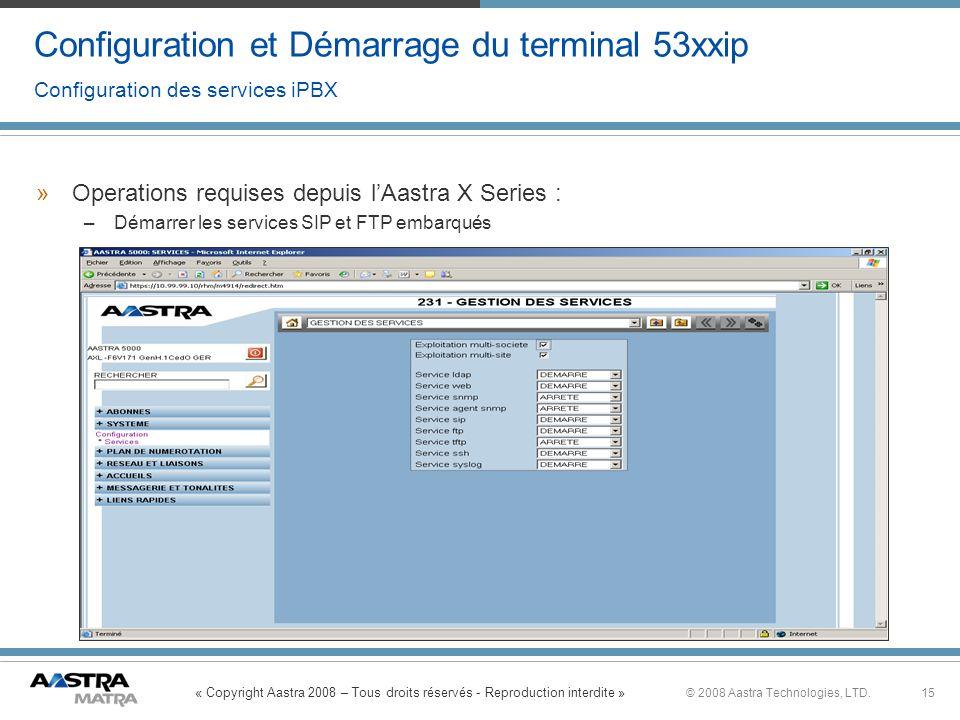 « Copyright Aastra 2008 – Tous droits réservés - Reproduction interdite » 15© 2008 Aastra Technologies, LTD. Configuration et Démarrage du terminal 53