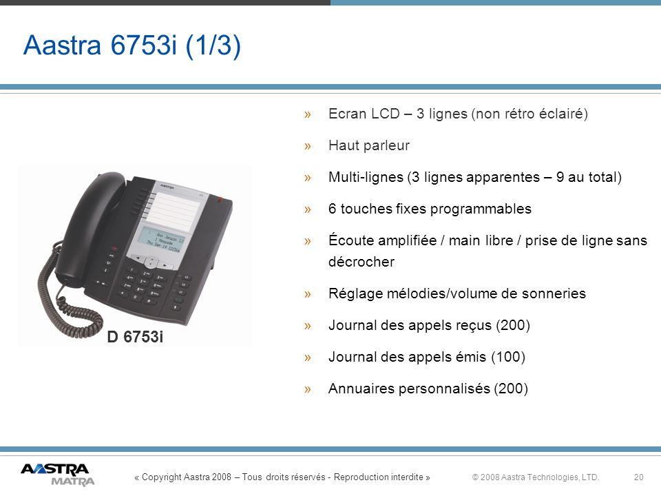 « Copyright Aastra 2008 – Tous droits réservés - Reproduction interdite » 20© 2008 Aastra Technologies, LTD. Aastra 6753i (1/3) »Ecran LCD – 3 lignes