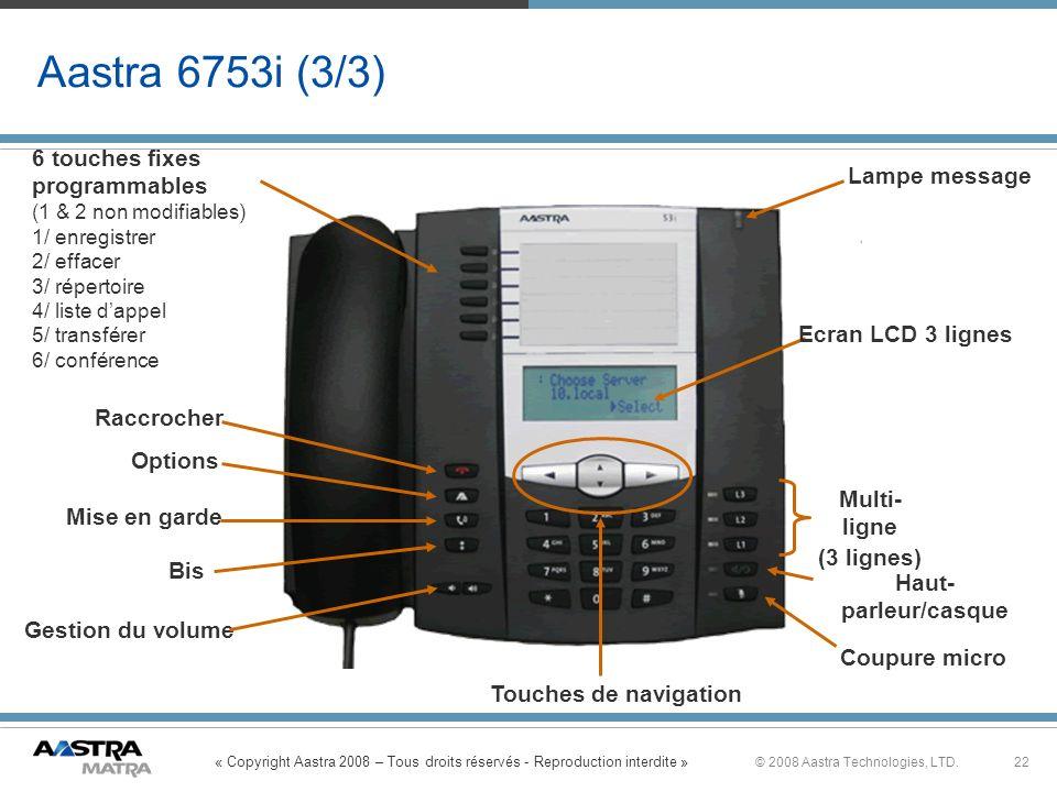 « Copyright Aastra 2008 – Tous droits réservés - Reproduction interdite » 22© 2008 Aastra Technologies, LTD. Aastra 6753i (3/3) Multi- ligne (3 lignes