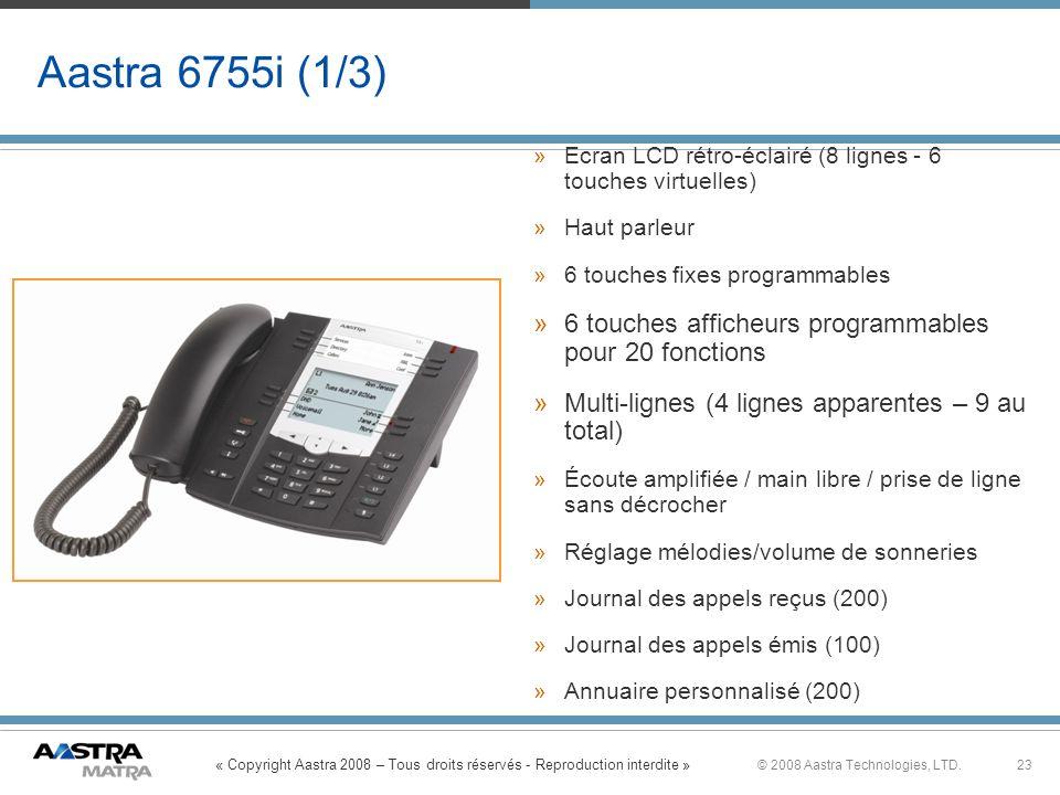 « Copyright Aastra 2008 – Tous droits réservés - Reproduction interdite » 23© 2008 Aastra Technologies, LTD. Aastra 6755i (1/3) »Ecran LCD rétro-éclai
