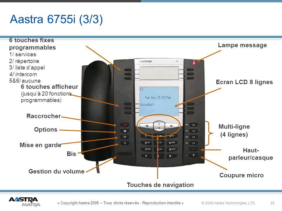 « Copyright Aastra 2008 – Tous droits réservés - Reproduction interdite » 25© 2008 Aastra Technologies, LTD. Aastra 6755i (3/3) Multi-ligne (4 lignes)