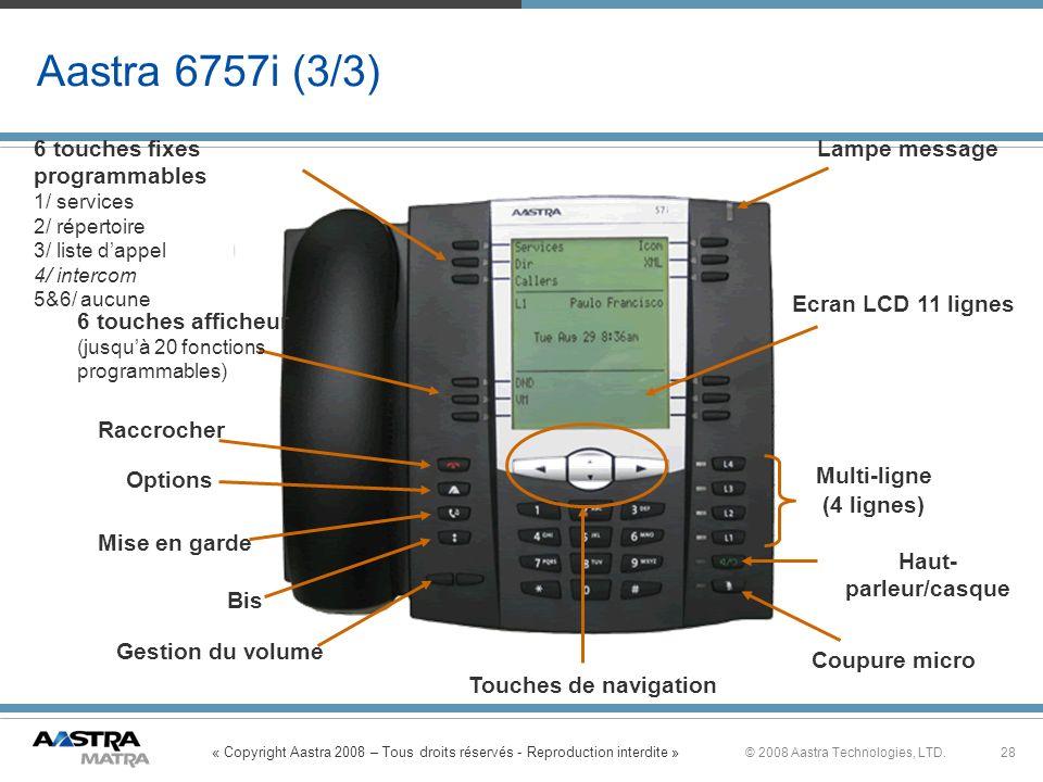 « Copyright Aastra 2008 – Tous droits réservés - Reproduction interdite » 28© 2008 Aastra Technologies, LTD. Aastra 6757i (3/3) 6 touches fixes progra