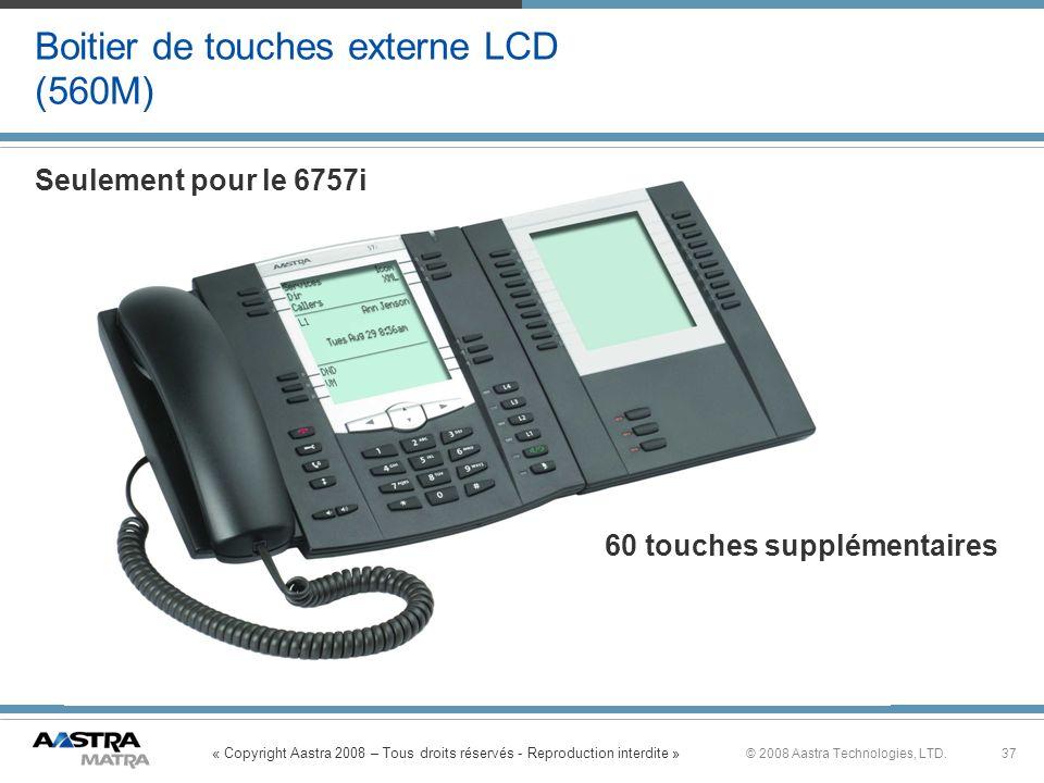 « Copyright Aastra 2008 – Tous droits réservés - Reproduction interdite » 37© 2008 Aastra Technologies, LTD. Boitier de touches externe LCD (560M) 60