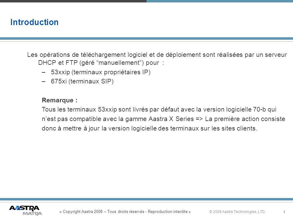 « Copyright Aastra 2008 – Tous droits réservés - Reproduction interdite » 4© 2008 Aastra Technologies, LTD. Introduction Les opérations de téléchargem