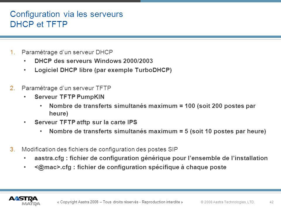 « Copyright Aastra 2008 – Tous droits réservés - Reproduction interdite » 42© 2008 Aastra Technologies, LTD. Configuration via les serveurs DHCP et TF