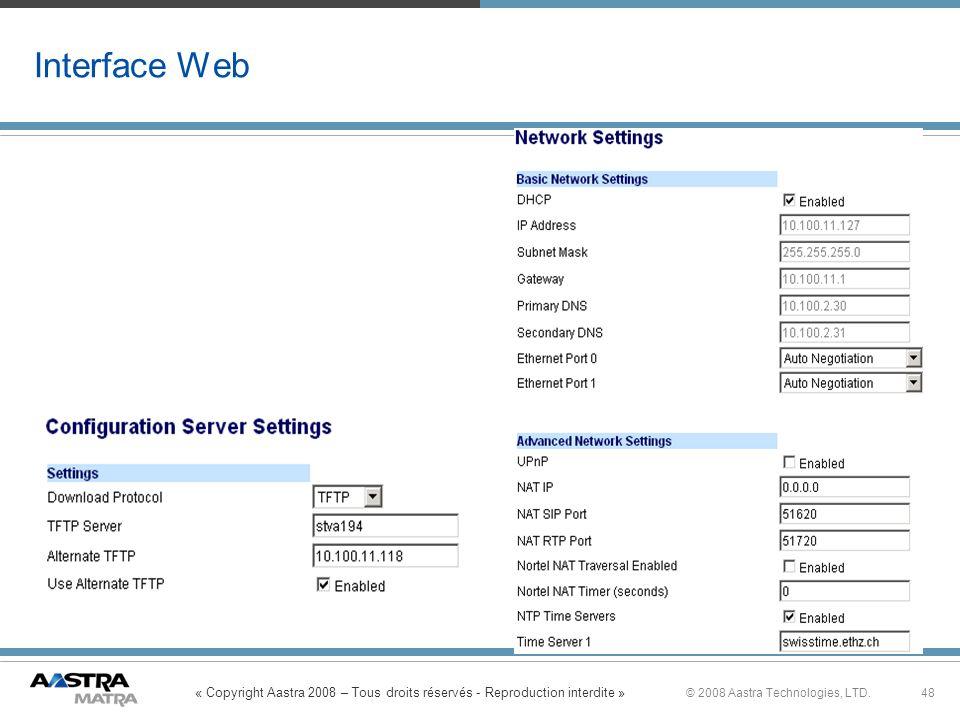 « Copyright Aastra 2008 – Tous droits réservés - Reproduction interdite » 48© 2008 Aastra Technologies, LTD. Interface Web