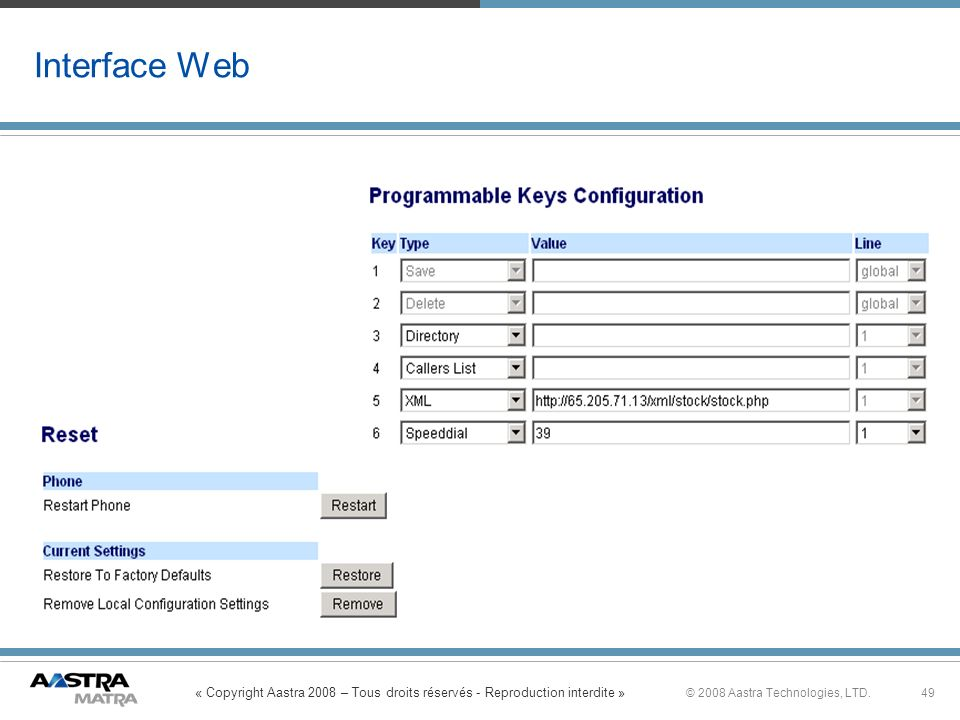 « Copyright Aastra 2008 – Tous droits réservés - Reproduction interdite » 49© 2008 Aastra Technologies, LTD. Interface Web