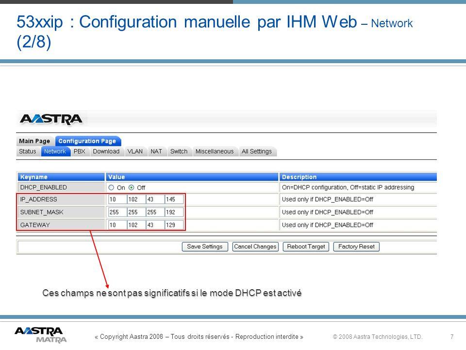 « Copyright Aastra 2008 – Tous droits réservés - Reproduction interdite » 7© 2008 Aastra Technologies, LTD. 53xxip : Configuration manuelle par IHM We
