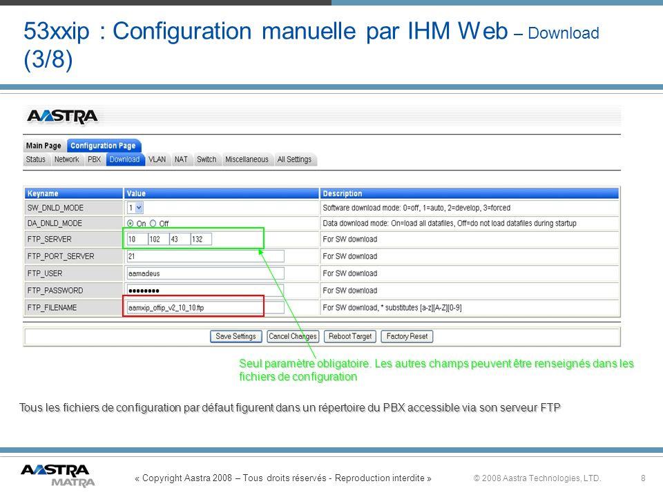 « Copyright Aastra 2008 – Tous droits réservés - Reproduction interdite » 8© 2008 Aastra Technologies, LTD. 53xxip : Configuration manuelle par IHM We
