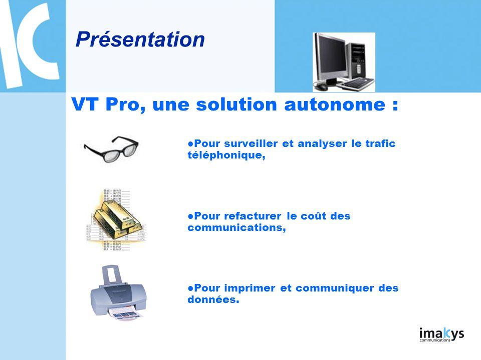 Le serveur VT Pro VT Pro fonctionne sous Windows 2000, XP, Vista et 2003, Les données de VT Pro sont gérées par Microsoft SQL Server 2000/2005, Les services de VT Pro sont accessibles : depuis le serveur VT Pro, depuis des postes clients VT Pro,(option) en mode WEB à laide dun simple navigateur.