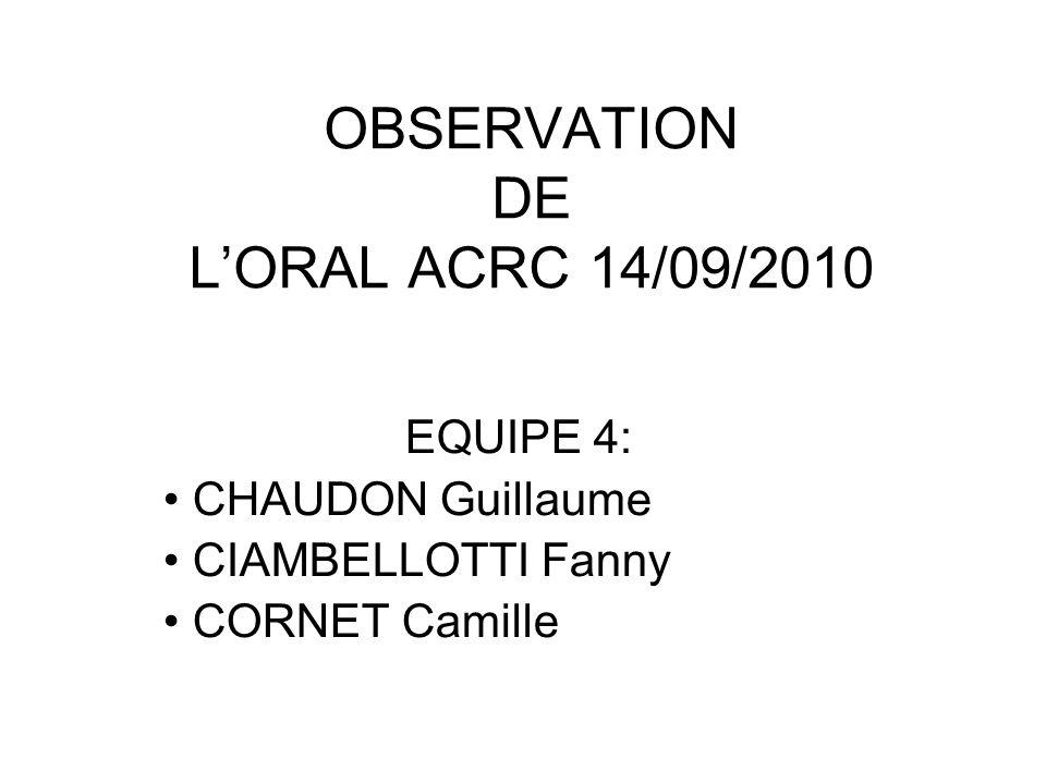 OBSERVATION DE LORAL ACRC 14/09/2010 EQUIPE 4: CHAUDON Guillaume CIAMBELLOTTI Fanny CORNET Camille