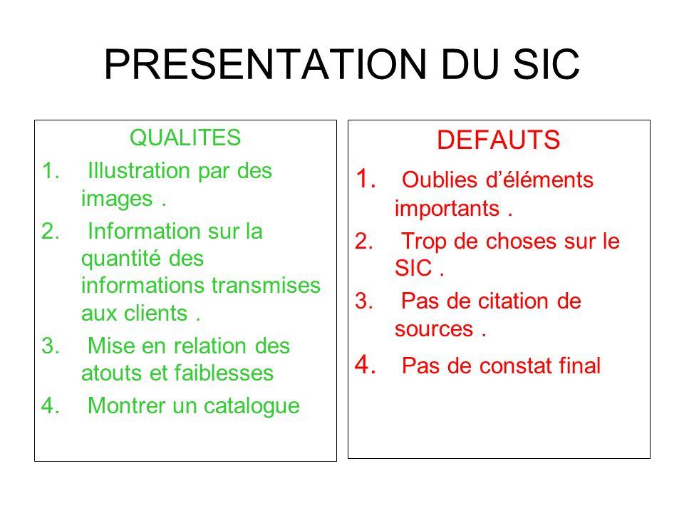 PRESENTATION DU SIC QUALITES 1. Illustration par des images. 2. Information sur la quantité des informations transmises aux clients. 3. Mise en relati