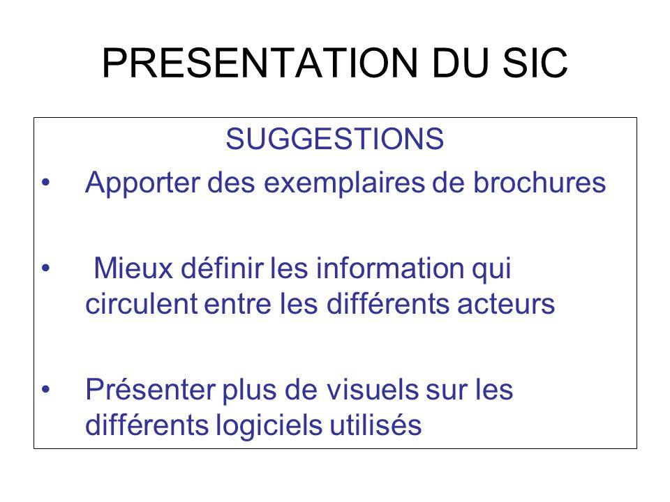 PRESENTATION DU SIC SUGGESTIONS Apporter des exemplaires de brochures Mieux définir les information qui circulent entre les différents acteurs Présent