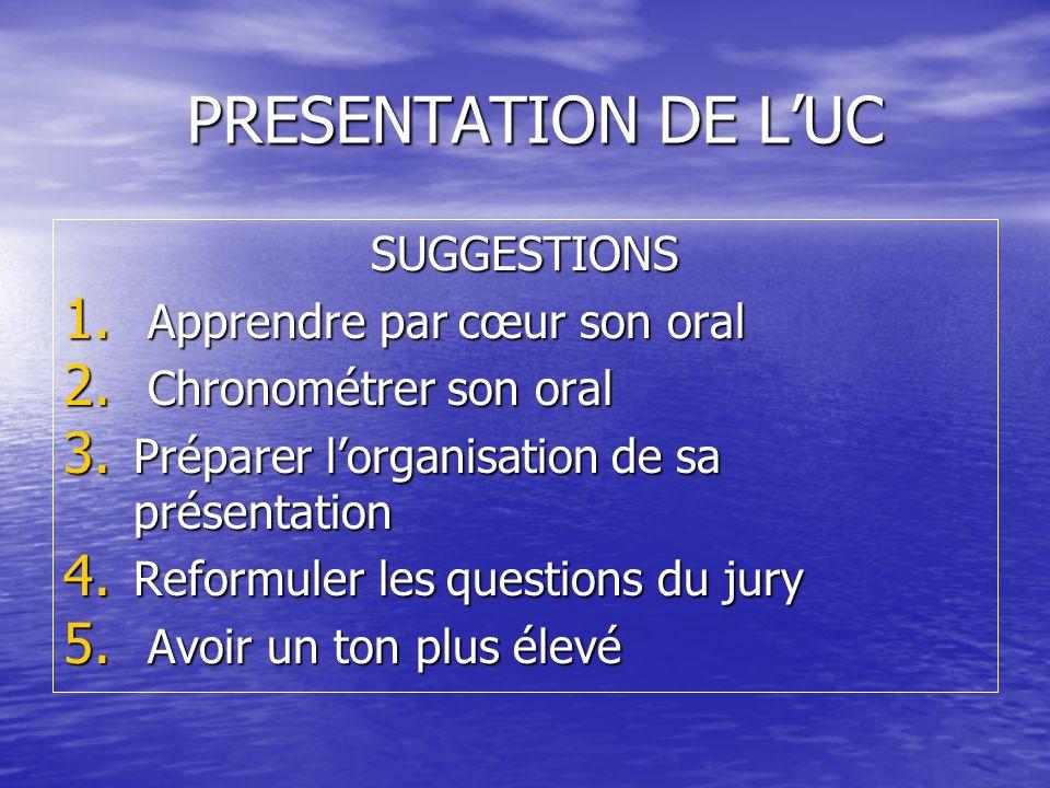 PRESENTATION DE LUC SUGGESTIONS 1. Apprendre par cœur son oral 2. Chronométrer son oral 3. Préparer lorganisation de sa présentation 4. Reformuler les