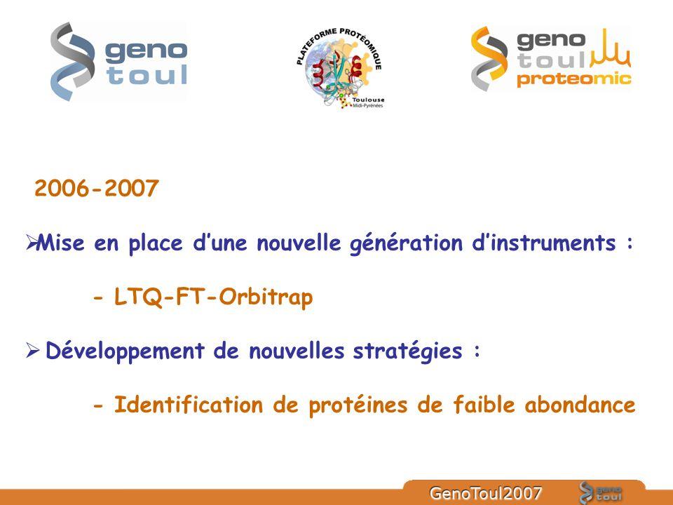 2006-2007 Mise en place dune nouvelle génération dinstruments : - LTQ-FT-Orbitrap Développement de nouvelles stratégies : - Identification de protéine