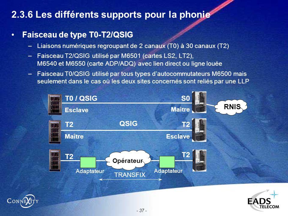 - 37 - 2.3.6 Les différents supports pour la phonie Faisceau de type T0-T2/QSIG –Liaisons numériques regroupant de 2 canaux (T0) à 30 canaux (T2) –Fai