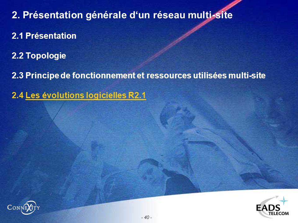 - 40 - 2. Présentation générale dun réseau multi-site 2.1 Présentation 2.2 Topologie 2.3 Principe de fonctionnement et ressources utilisées multi-site