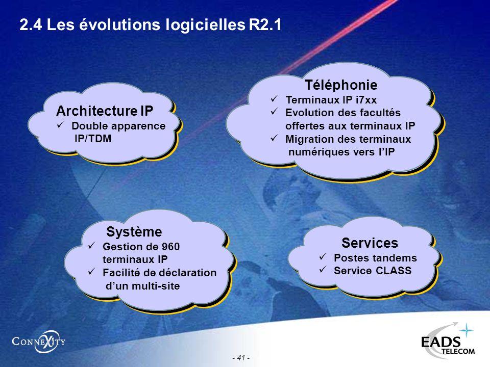- 41 - 2.4 Les évolutions logicielles R2.1 Téléphonie Terminaux IP i7xx Evolution des facultés offertes aux terminaux IP Migration des terminaux numér