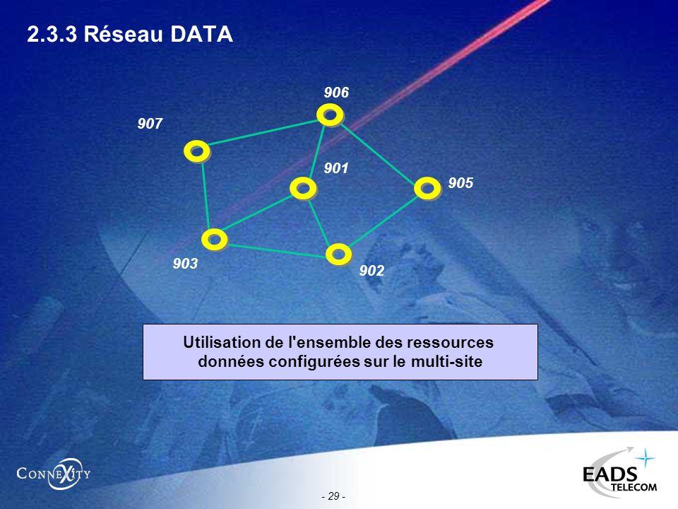 - 29 - 2.3.3 Réseau DATA 906 905 902 903 901 907 Utilisation de l'ensemble des ressources données configurées sur le multi-site