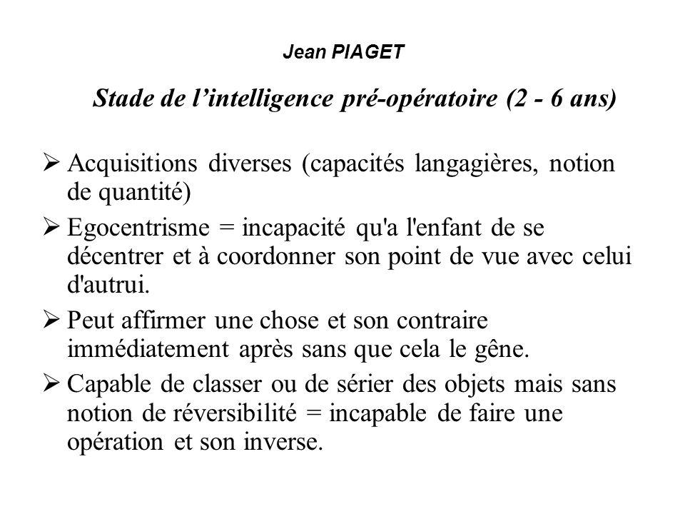 Jean PIAGET Stade de lintelligence pré-opératoire (2 - 6 ans) Acquisitions diverses (capacités langagières, notion de quantité) Egocentrisme = incapac