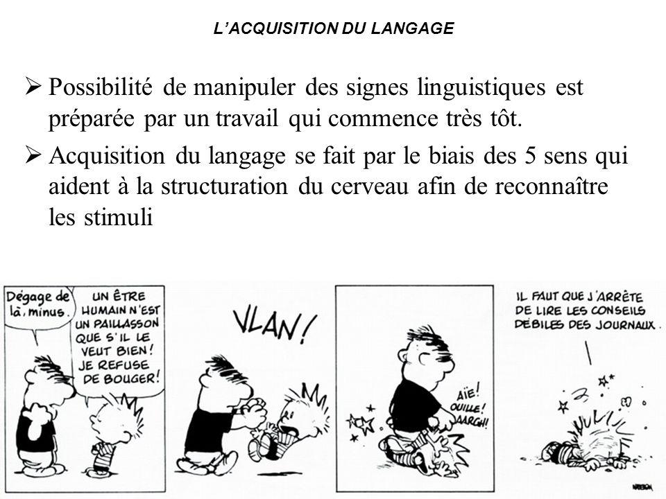 LACQUISITION DU LANGAGE Possibilité de manipuler des signes linguistiques est préparée par un travail qui commence très tôt. Acquisition du langage se