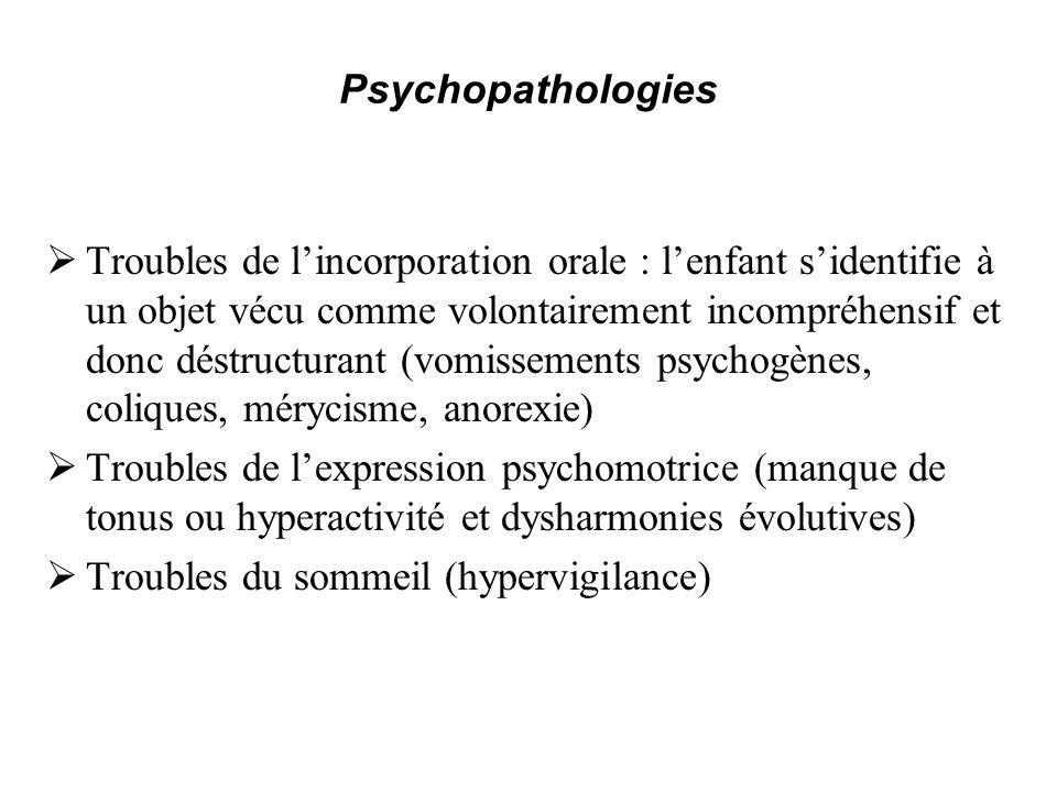 Psychopathologies Troubles de lincorporation orale : lenfant sidentifie à un objet vécu comme volontairement incompréhensif et donc déstructurant (vom