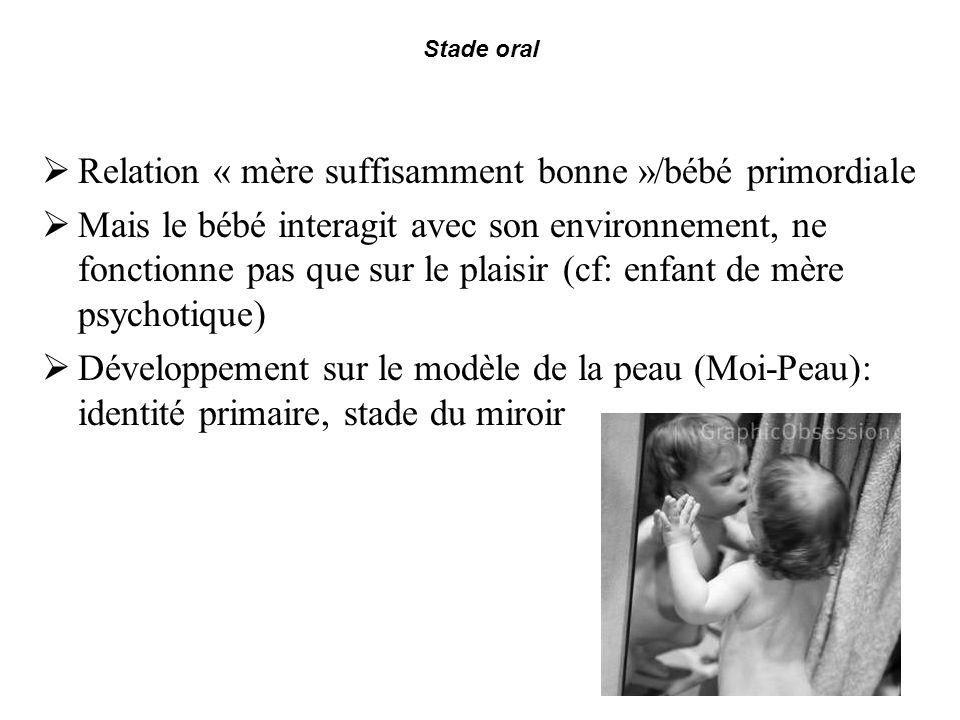 Stade oral Relation « mère suffisamment bonne »/bébé primordiale Mais le bébé interagit avec son environnement, ne fonctionne pas que sur le plaisir (