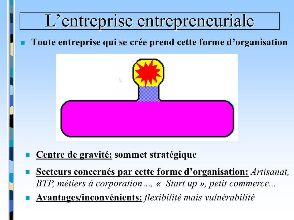 Lentreprise entrepreneuriale n Toute entreprise qui se crée prend cette forme dorganisation n Secteurs concernés par cette forme dorganisation: Artisa