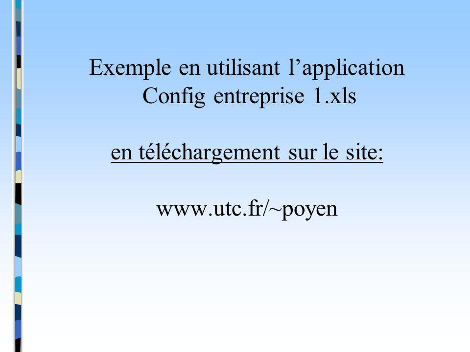 Exemple en utilisant lapplication Config entreprise 1.xls en téléchargement sur le site: www.utc.fr/~poyen