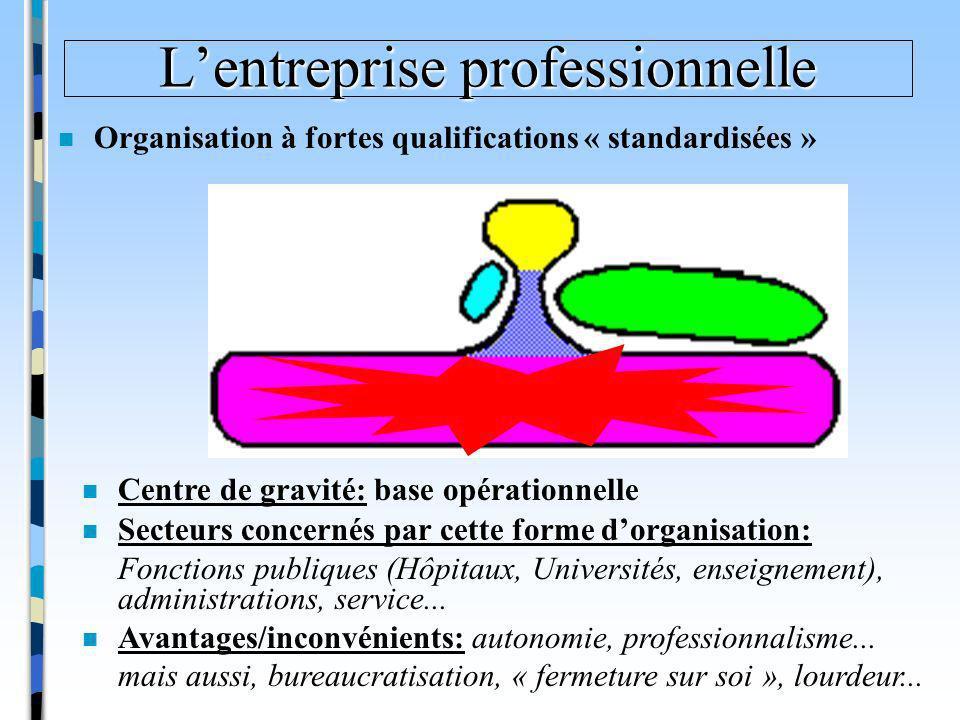 Lentreprise professionnelle n Organisation à fortes qualifications « standardisées » n Secteurs concernés par cette forme dorganisation: Fonctions pub