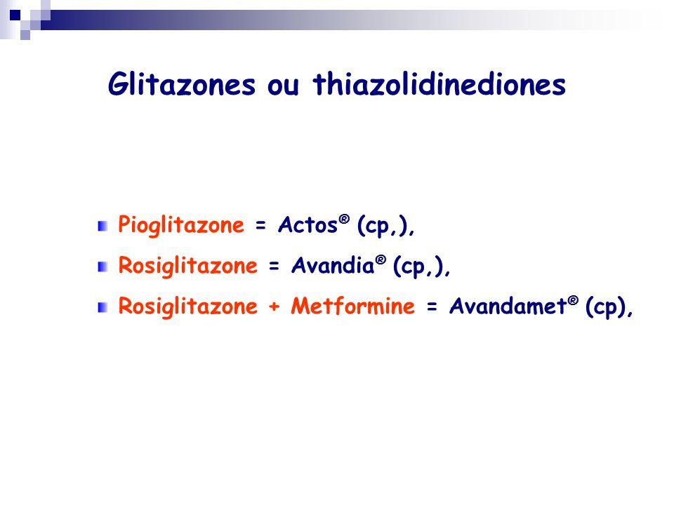 Glitazones ou thiazolidinediones Pioglitazone = Actos ® (cp,), Rosiglitazone = Avandia ® (cp,), Rosiglitazone + Metformine = Avandamet ® (cp),