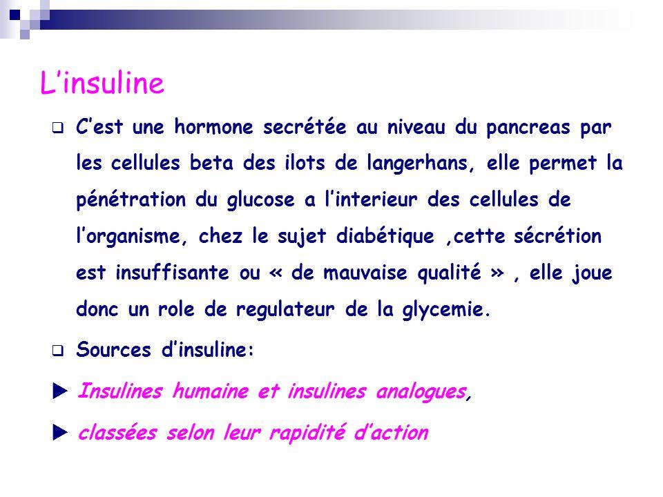 Linsuline Cest une hormone secrétée au niveau du pancreas par les cellules beta des ilots de langerhans, elle permet la pénétration du glucose a linte