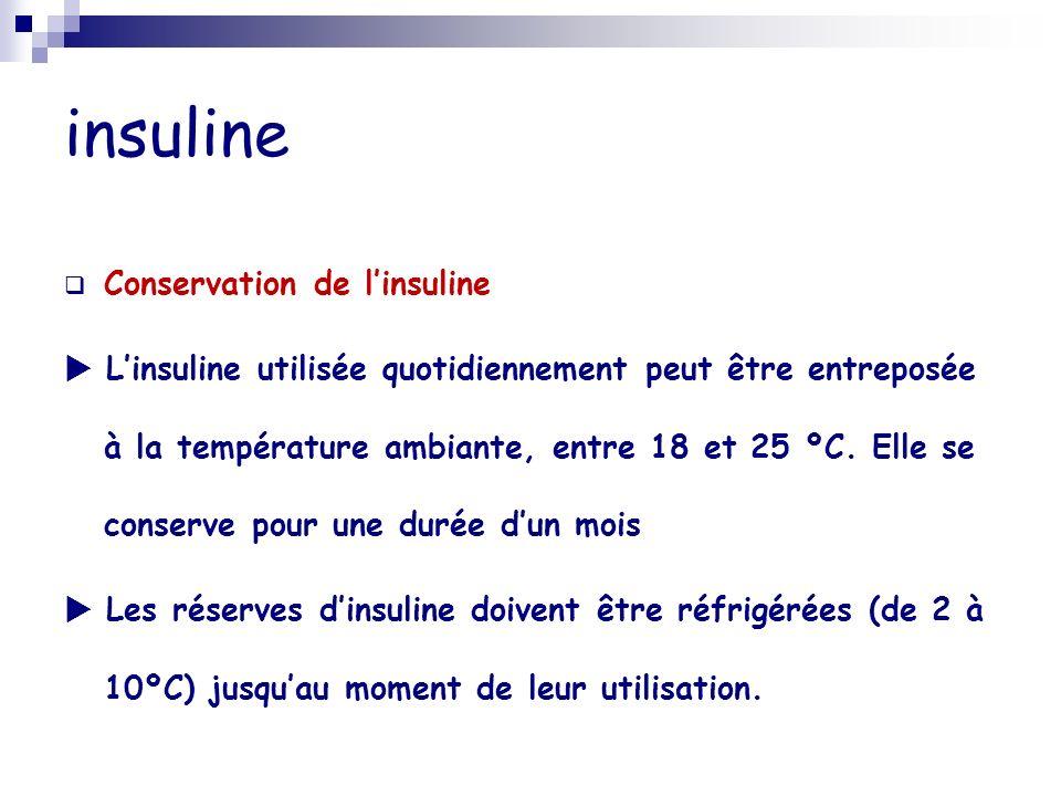 insuline Conservation de linsuline Linsuline utilisée quotidiennement peut être entreposée à la température ambiante, entre 18 et 25 ºC. Elle se conse