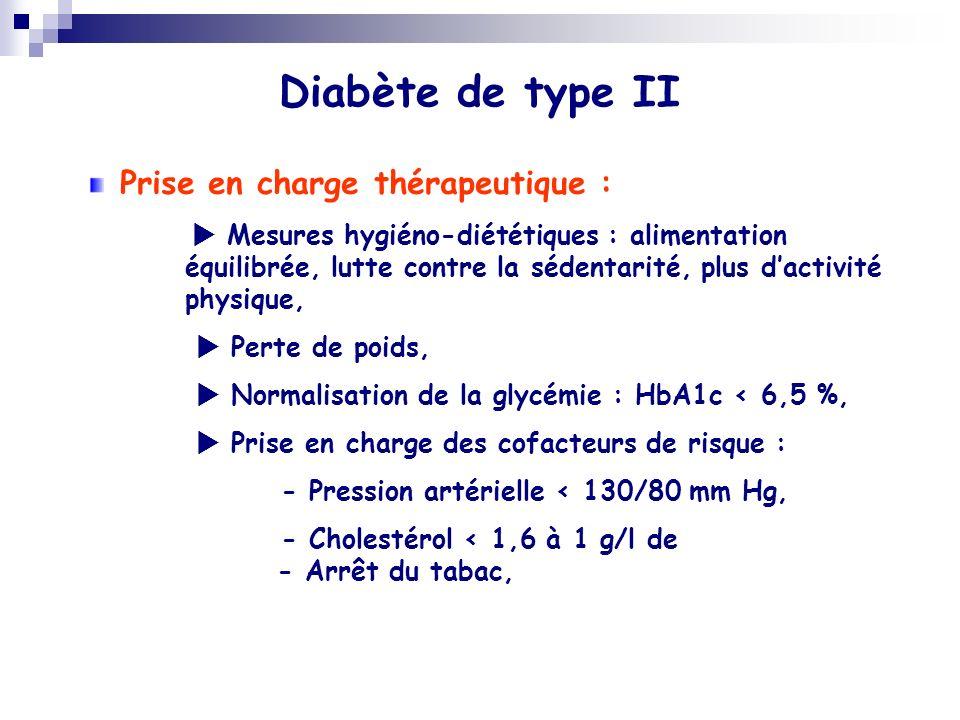 Diabète de type II Prise en charge thérapeutique : Mesures hygiéno-diététiques : alimentation équilibrée, lutte contre la sédentarité, plus dactivité