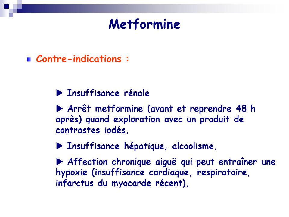 Metformine Contre-indications : Insuffisance rénale Arrêt metformine (avant et reprendre 48 h après) quand exploration avec un produit de contrastes i