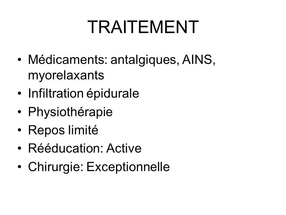 TRAITEMENT Médicaments: antalgiques, AINS, myorelaxants Infiltration épidurale Physiothérapie Repos limité Rééducation: Active Chirurgie: Exceptionnel