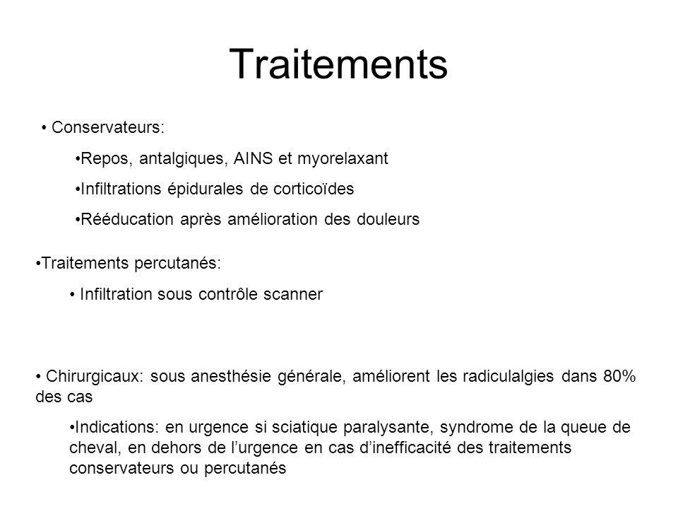 Traitements Conservateurs: Repos, antalgiques, AINS et myorelaxant Infiltrations épidurales de corticoïdes Rééducation après amélioration des douleurs
