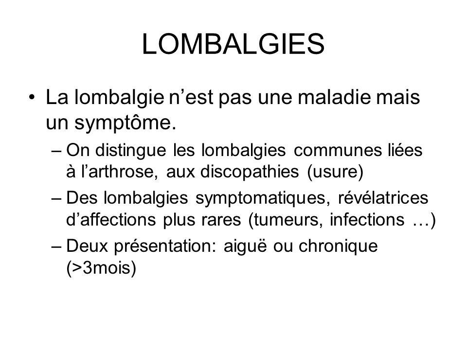 LOMBALGIES La lombalgie nest pas une maladie mais un symptôme. –On distingue les lombalgies communes liées à larthrose, aux discopathies (usure) –Des