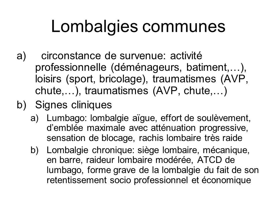 Lombalgies communes a) circonstance de survenue: activité professionnelle (déménageurs, batiment,…), loisirs (sport, bricolage), traumatismes (AVP, ch
