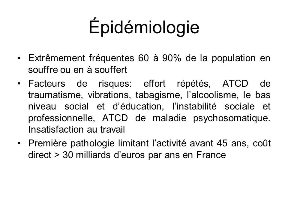Épidémiologie Extrêmement fréquentes 60 à 90% de la population en souffre ou en à souffert Facteurs de risques: effort répétés, ATCD de traumatisme, v