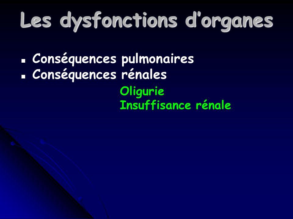 Les dysfonctions dorganes n Conséquences pulmonaires n Conséquences rénales Oligurie Insuffisance rénale