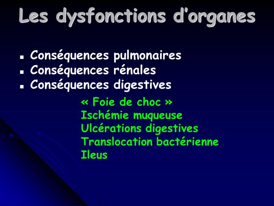 Les dysfonctions dorganes n Conséquences pulmonaires n Conséquences rénales n Conséquences digestives « Foie de choc » Ischémie muqueuse Ulcérations digestives Translocation bactérienne Ileus