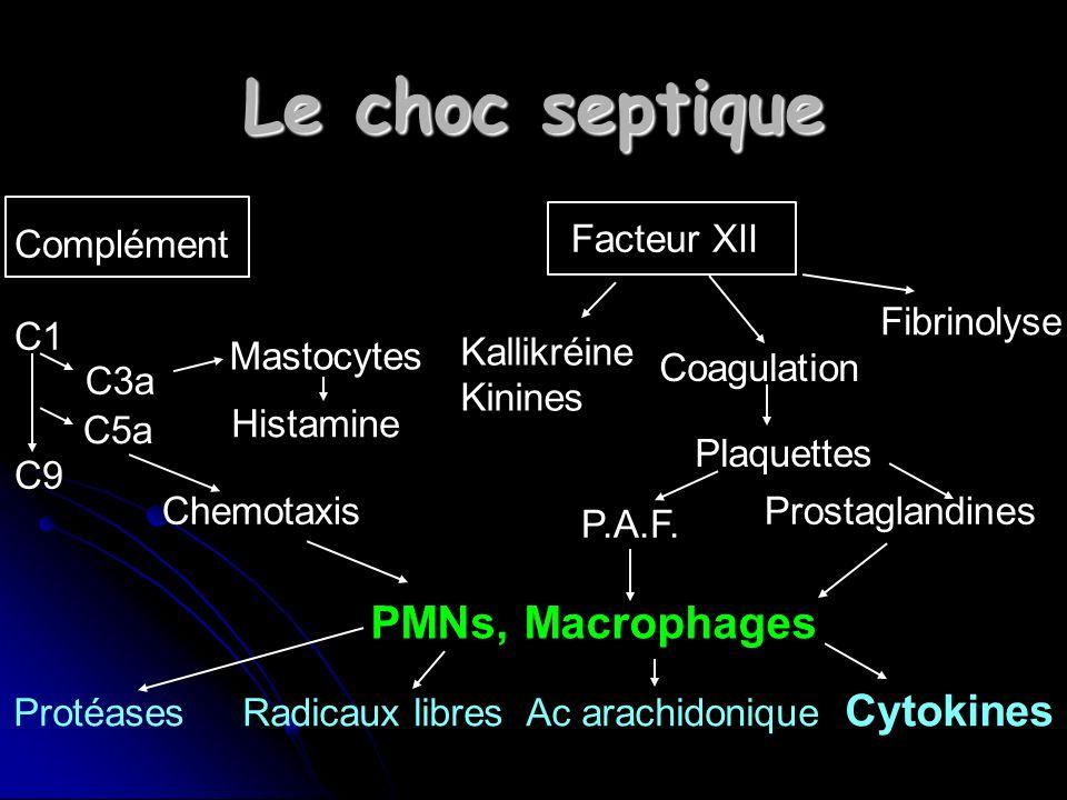Le choc septique Complément C1 C9 Facteur XII C3a C5a Mastocytes Histamine Chemotaxis PMNs, Macrophages Kallikréine Kinines Coagulation Fibrinolyse Plaquettes P.A.F.