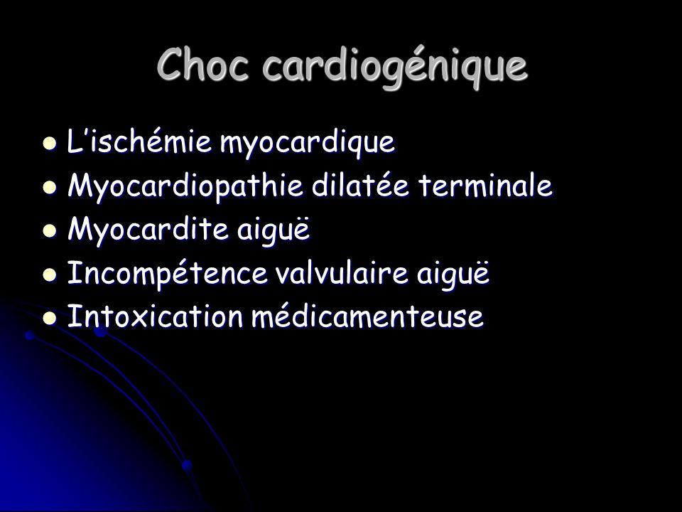 Choc cardiogénique Lischémie myocardique Lischémie myocardique Myocardiopathie dilatée terminale Myocardiopathie dilatée terminale Myocardite aiguë Myocardite aiguë Incompétence valvulaire aiguë Incompétence valvulaire aiguë Intoxication médicamenteuse Intoxication médicamenteuse